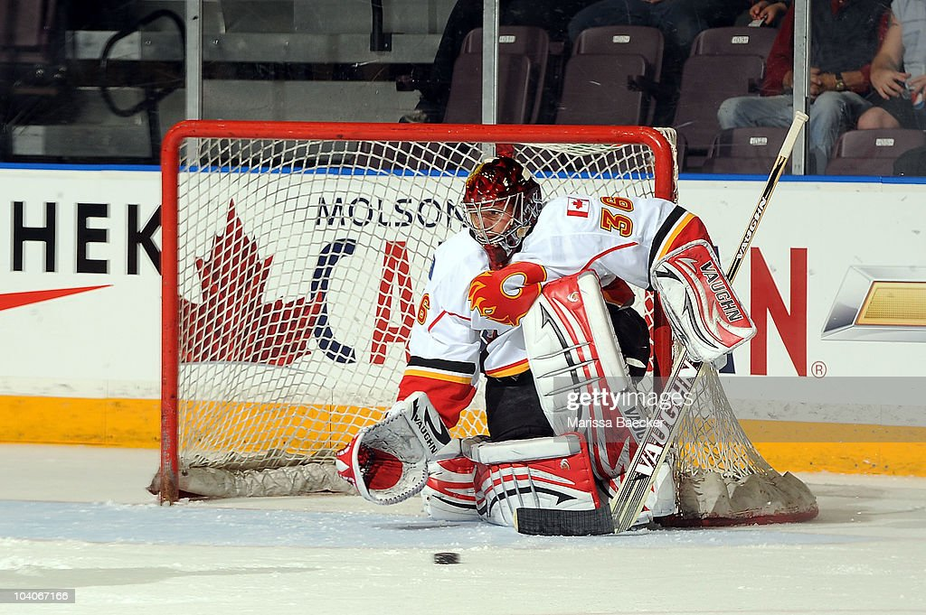 Matt Keetley #30 of the Calgary Flames makes a save against the Anaheim Ducks during game 3 of the Young Stars Tournament at the South Okangan Event Centre on September 13, 2010 in Penticton, Canada.
