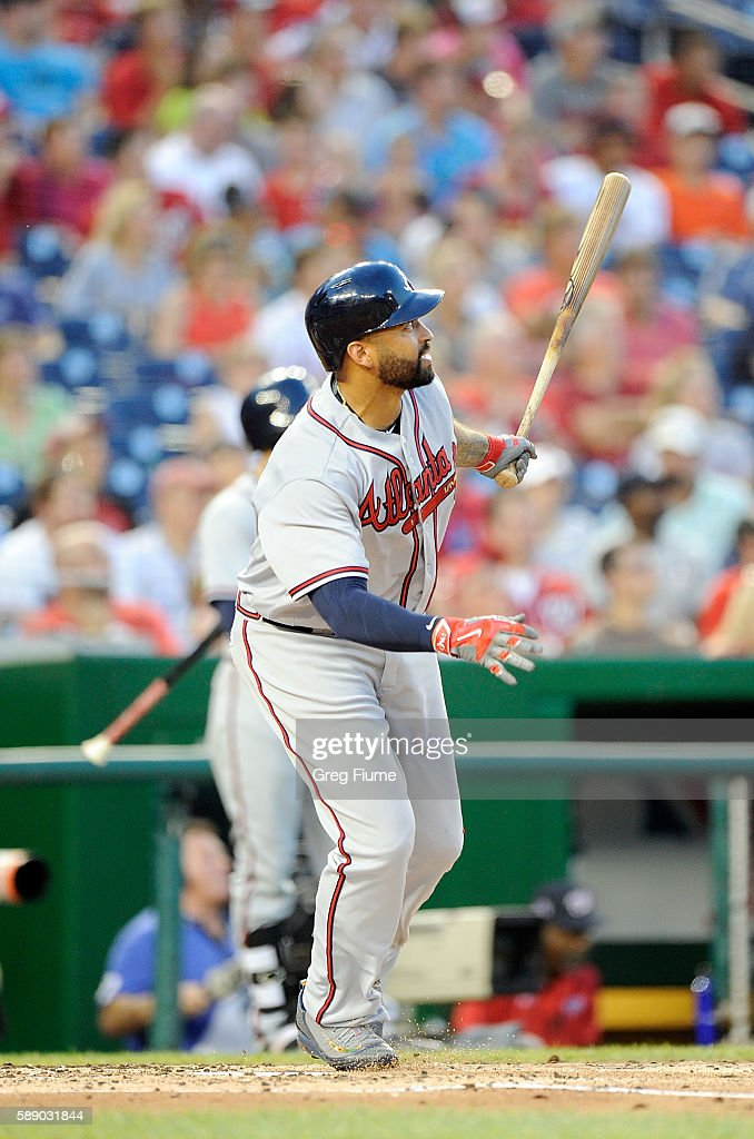 Matt Kemp #27 of the Atlanta Braves hits a double in the third inning against the Washington Nationals at Nationals Park on August 12, 2016 in Washington, DC.