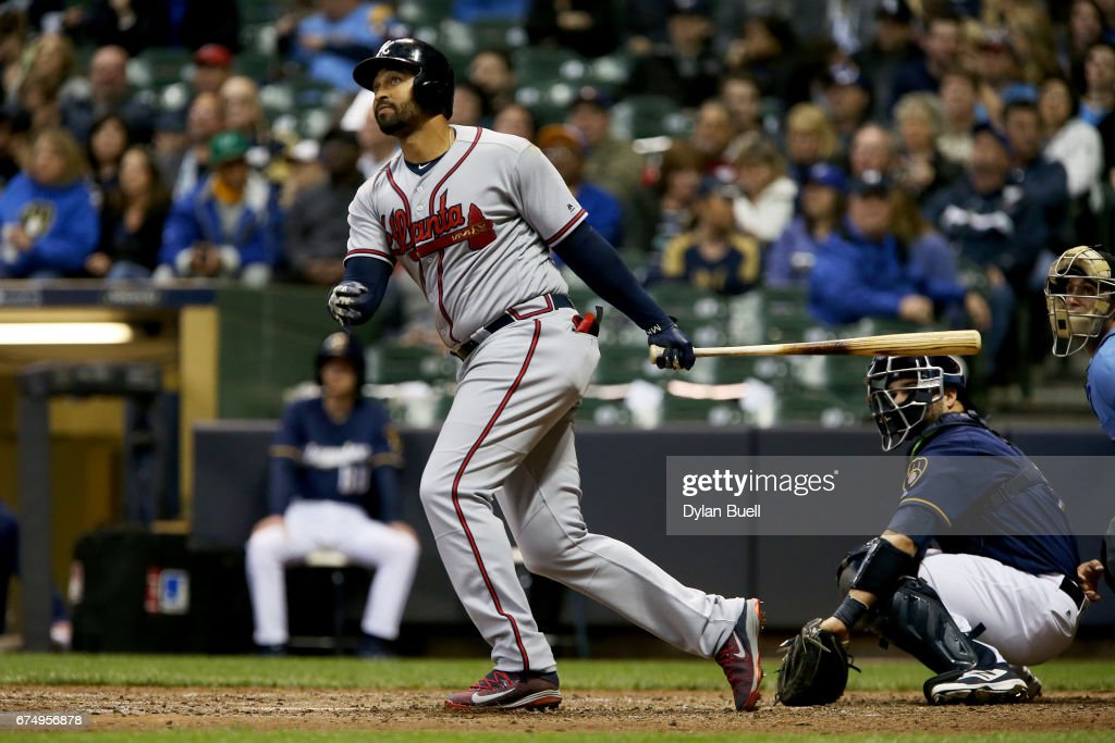 Matt Kemp #27 of the Atlanta Braves hits a home run in the seventh inning against the Milwaukee Brewers at Miller Park on April 29, 2017 in Milwaukee, Wisconsin.