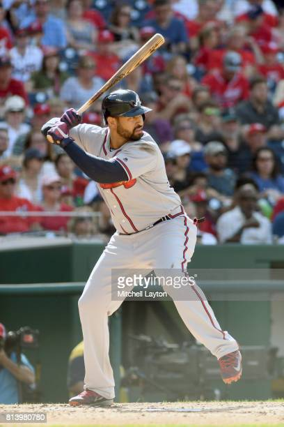 Matt Kemp of the Atlanta Braves prepares for a pitch during a baseball game against the Washington Nationals at Nationals Park on July 8 2017 in...