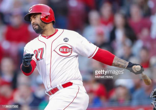 Matt Kemp of the Cincinnati Reds hits a single during the third inning against the Miami Marlins at Great American Ball Park on April 9 2019 in...