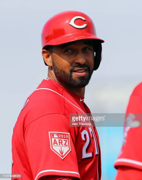 Matt Kemp of the Cincinnati Reds looks on from first base during a Spring Training game against the San Francisco Giants on Tuesday February 26 2019...
