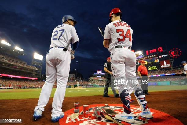 Matt Kemp of the Los Angeles Dodgers and Bryce Harper of the Washington Nationals are seen in the ondeck circle during the the 89th MLB AllStar Game...