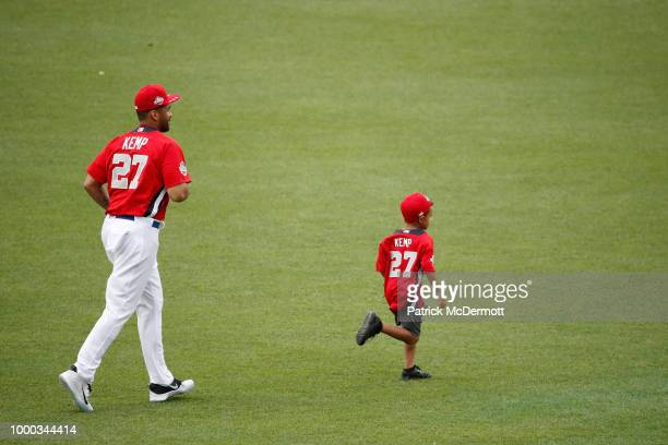 Matt Kemp of the Los Angeles Dodgers and the National League runs on the field during Gatorade AllStar Workout Day at Nationals Park on July 16 2018...