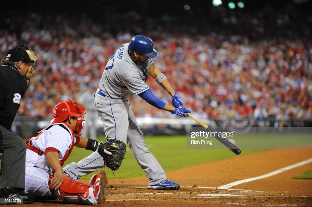 Matt Kemp of the Los Angeles Dodgers bats during Game Five of the National League Championship Series (NLCS) against the Philadelphia Phillies at Citizens Bank Park in Philadelphia, Pennsylvania on October 21, 2009. The Phillies defeated the Dodgers 10-4.