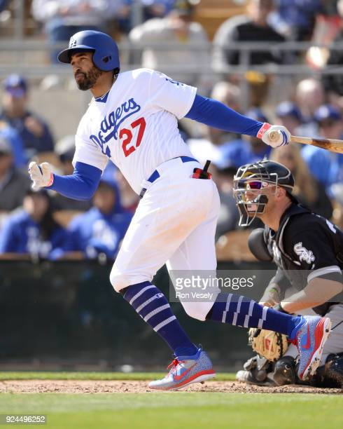 Matt Kemp of the Los Angeles Dodgers bats during the game against the Chicago White Sox on February 23 2018 at Camelback Ranch in Glendale Arizona