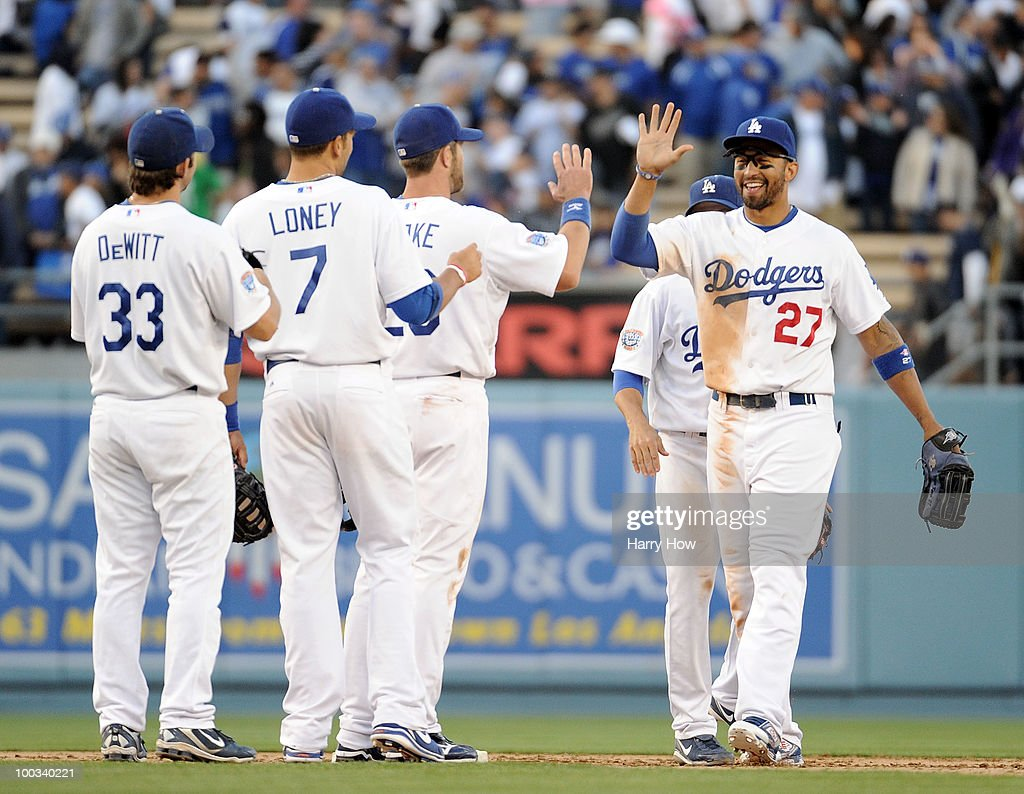 Matt Kemp #27 of the Los Angeles Dodgers celebrates a 6-4 win with teammates over the Detroit Tigers at Dodger Stadium on May 22, 2010 in Los Angeles, California.