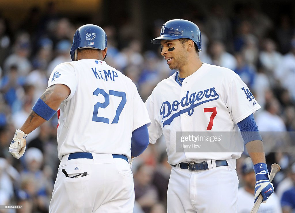 Matt Kemp #27 of the Los Angeles Dodgers celebrates his solo homerun with James Loney #7 for a 6-2 lead over the of the Los Angeles Dodgers during the fifth inning at Dodger Stadium on May 22, 2010 in Los Angeles, California.