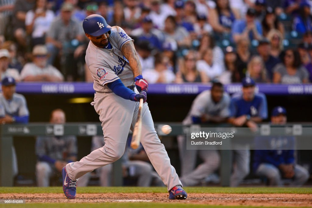 Matt Kemp #27 of the Los Angeles Dodgers hits a seventh inning two-run homerun against the Colorado Rockies at Coors Field on June 2, 2018 in Denver, Colorado.