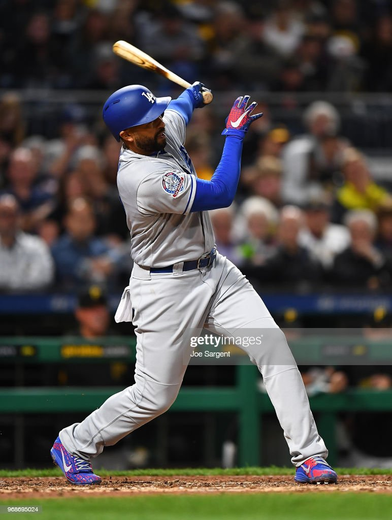 Matt Kemp #27 of the Los Angeles Dodgers hits a three run home run during the fifth inning against the Pittsburgh Pirates at PNC Park on June 6, 2018 in Pittsburgh, Pennsylvania.