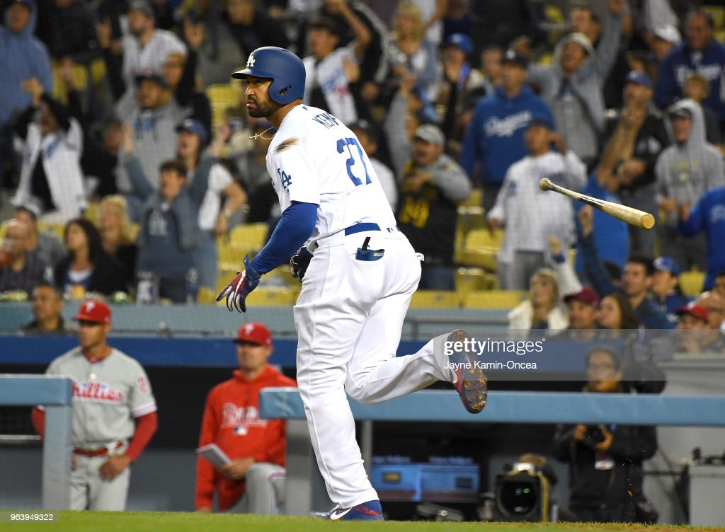 Matt Kemp #27 of the Los Angeles Dodgers hits a two run home run in the third inning of the game against the Philadelphia Phillies at Dodger Stadium on May 30, 2018 in Los Angeles, California.