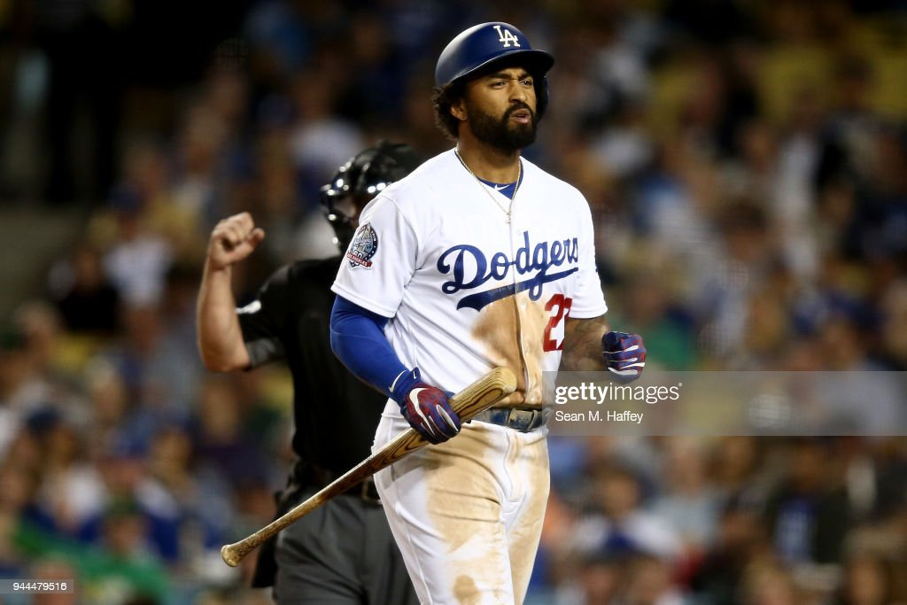 Matt Kemp #27 of the Los Angeles Dodgers looks on after striking out during the third inning of a game against the Oakland Athletics at Dodger Stadium on April 10, 2018 in Los Angeles, California.