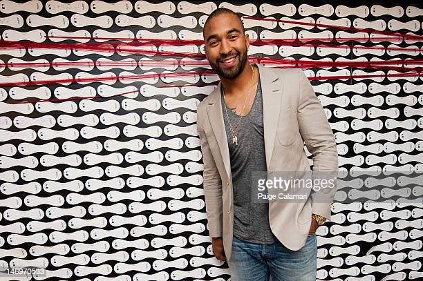 Matt Kemp of the Los Angeles Dodgers poses by the Rawlings signature wall during the MLB AllStar LeadOff Event June 5 2012 at the MLB Fan Cave...