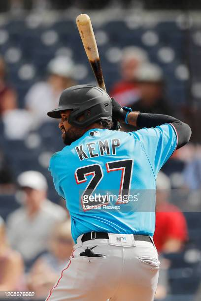 Matt Kemp of the Miami Marlins at bat against the Houston Astros during a Grapefruit League spring training game at FITTEAM Ballpark of The Palm...