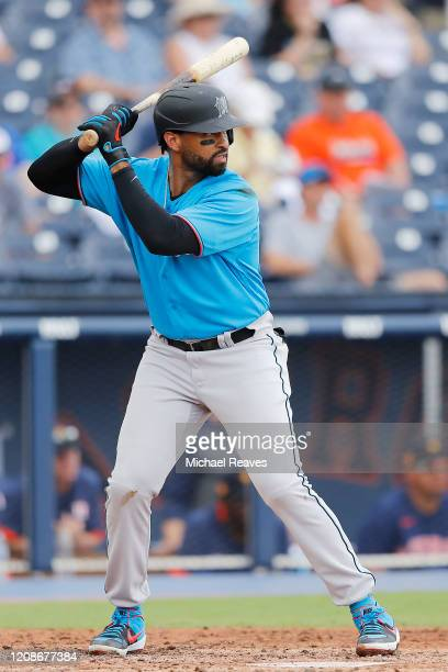 Matt Kemp of the Miami Marlins at bat against the Houston Astros in the fifth inning of a Grapefruit League spring training game at FITTEAM Ballpark...