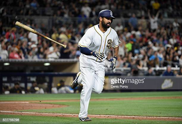 Matt Kemp of the San Diego Padres hits a solo home run during the fourth inning of a baseball game against the Pittsburgh Pirates at PETCO Park on...