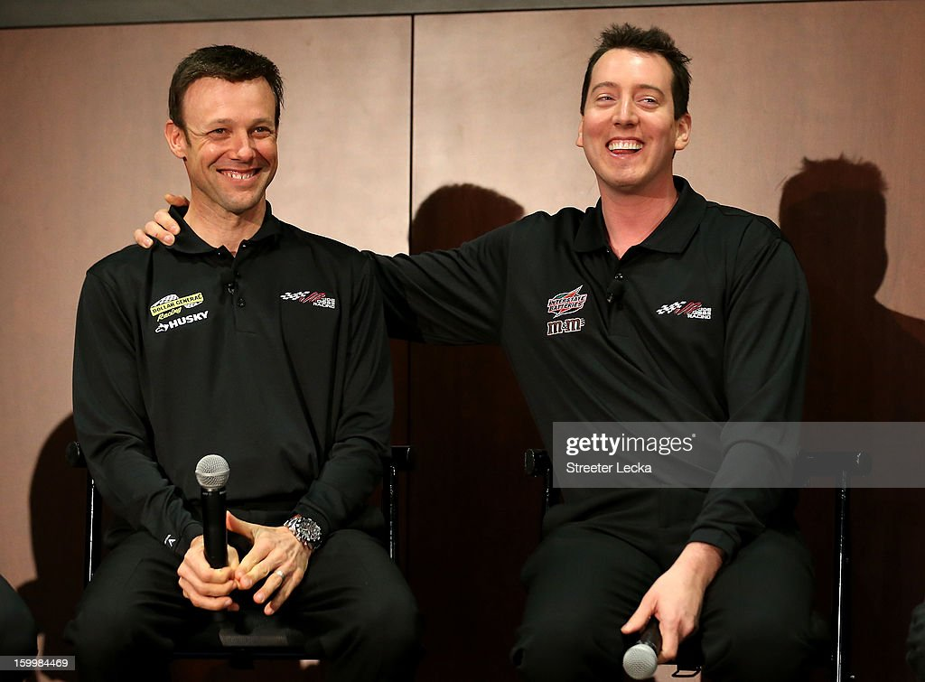 Matt Kenseth and Kyle Busch, drivers for Joe Gibbs Racing, speak to the media during the 2013 NASCAR Sprint Media Tour on January 24, 2013 in Concord, North Carolina.