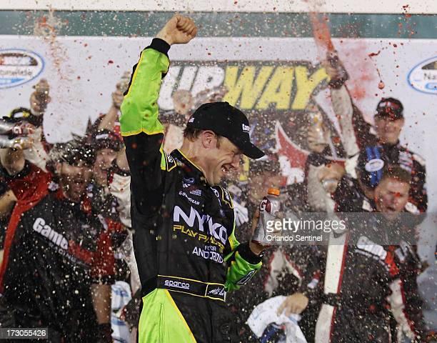 Matt Kenseth celebrates after winning the NASCAR Nationwide series' Subway Firecracker 250 at Daytona International Speedway on Friday July 5 in...