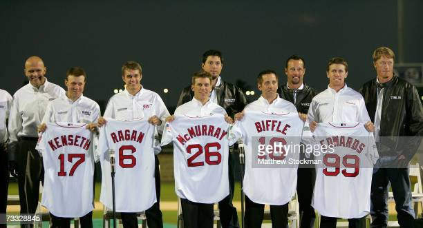 Matt Kenseth David Ragan Jamie McMurray Josh Beckett Greg Biffle Tim Wakefield Carl Edwards and Mike Timlin poses for photos at a press conference...
