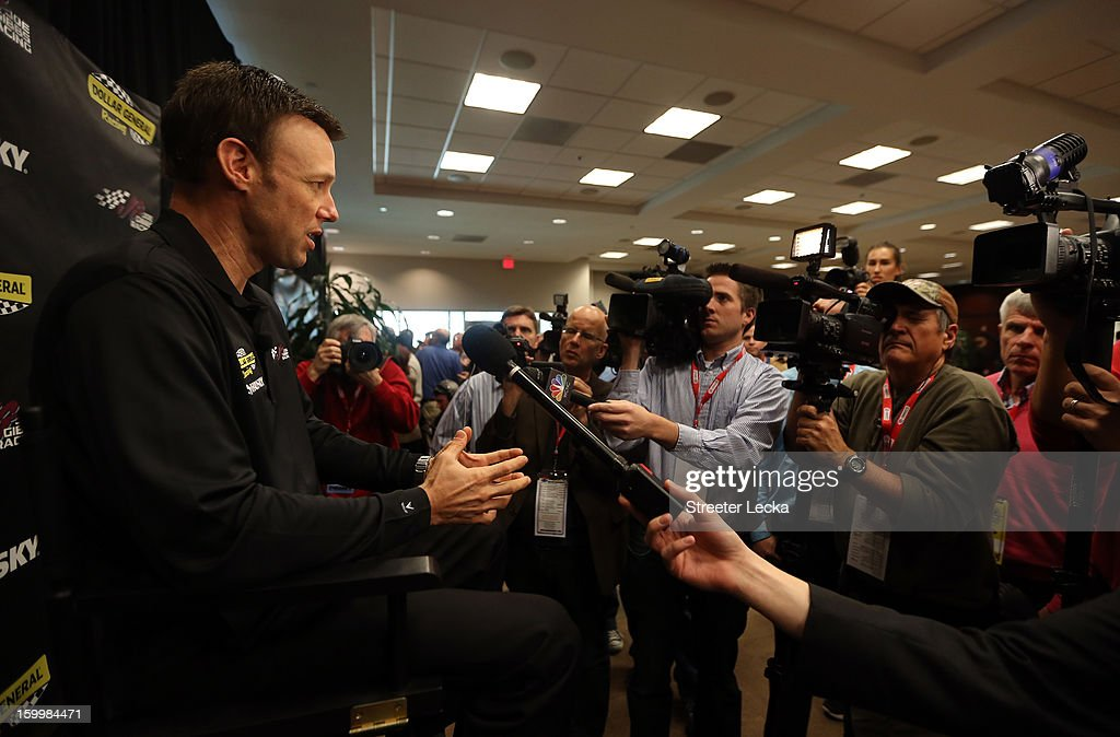 Matt Kenseth, driver for Joe Gibbs Racing, speaks to the media during the 2013 NASCAR Sprint Media Tour on January 24, 2013 in Concord, North Carolina.