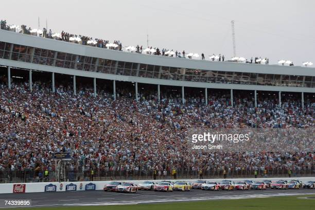 Matt Kenseth driver of the Arby's Ford leads the field to the start of the NASCAR Busch Series CARQUEST Auto Parts 300 on May 26 2007 at Lowe's Motor...