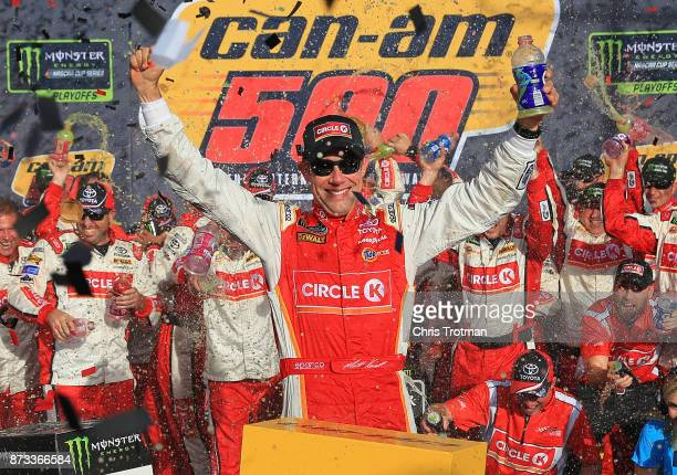 Matt Kenseth driver of the Circle K Toyota celebrates in victory lane after winning the Monster Energy NASCAR Cup Series CanAm 500 at Phoenix...