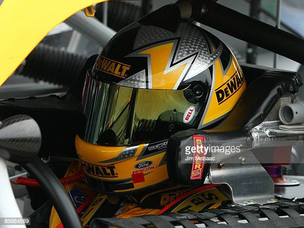 Matt Kenseth driver of the DeWalt Ford sits in his car during practice for the NASCAR Sprint Cup Series Goody�s Fast Pain Relief 500 at the...