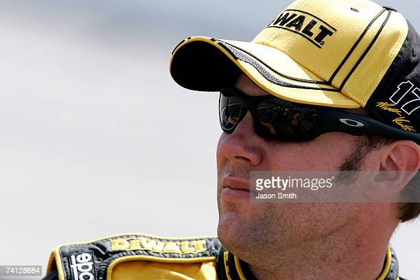 Matt Kenseth, driver of the DeWalt Ford, watches qualifying for the NASCAR Nextel Cup Series Dodge Avenger 500 on May 11, 2007 at Darlington Raceway...