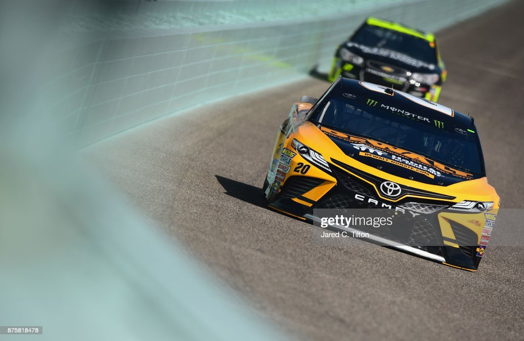 Matt Kenseth, driver of the #20 DeWalt Hurricane Relief Toyota, practices for the Monster Energy NASCAR Cup Series Championship Ford EcoBoost 400 at Homestead-Miami Speedway on November 18, 2017 in Homestead, Florida.