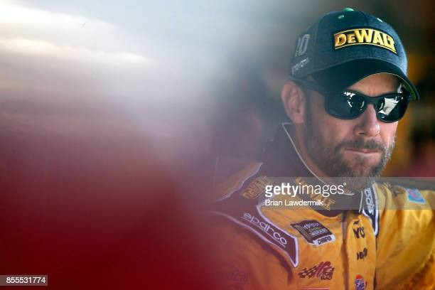 Matt Kenseth driver of the DeWalt/Flexvolt Toyota looks on during practice for the Monster Energy NASCAR Cup Series Apache Warrior 400 presented by...