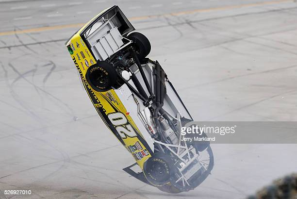 Matt Kenseth driver of the Dollar General Toyota is involved in an on track incident during the NASCAR Sprint Cup Series GEICO 500 at Talladega...