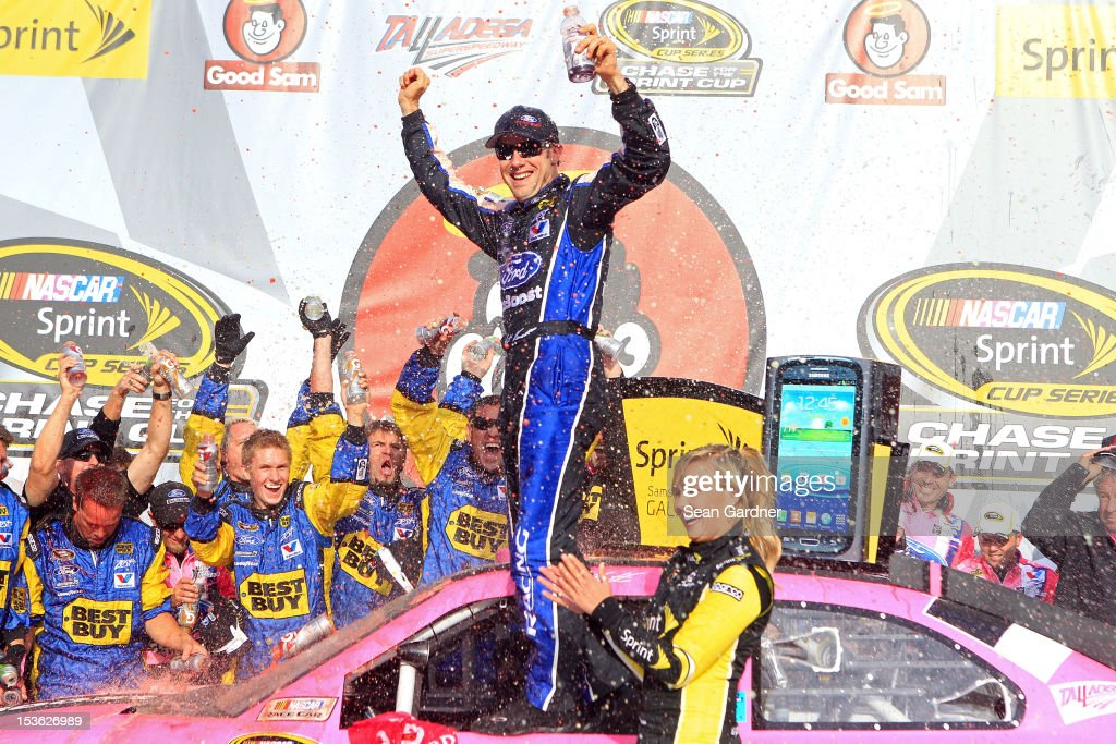 Matt Kenseth, driver of the #17 Ford Ecoboost/National Breast Cancer Foundation Ford, celebrates in Victory Lane after winning the NASCAR Sprint Cup Series Good Sam Roadside Assistance 500 at Talladega Superspeedway on October 7, 2012 in Talladega, Alabama.