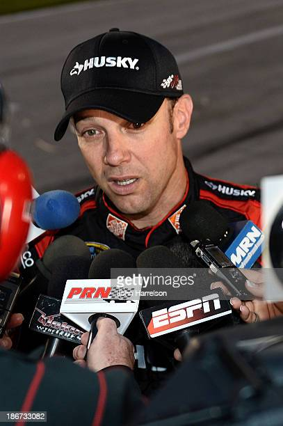 """Matt Kenseth, driver of the Home Depot """"Let's Do This"""" Toyota, speaks to the media after the NASCAR Sprint Cup Series AAA Texas 500 at Texas Motor..."""