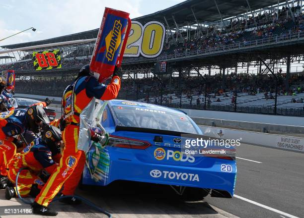Matt Kenseth driver of the Tide Pods Toyota pits during the Monster Energy NASCAR Cup Series Brickyard 400 at Indianapolis Motorspeedway on July 23...