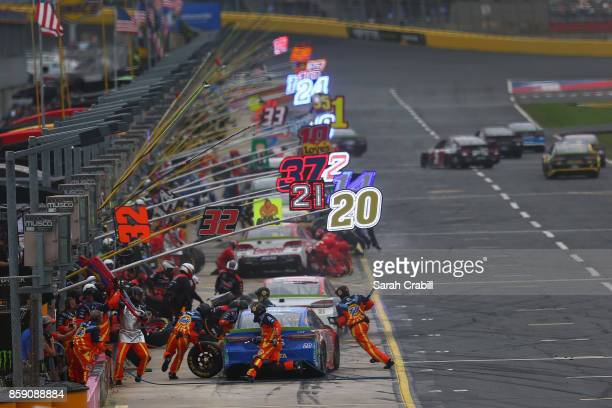 Matt Kenseth driver of the Tide Pods Toyota pits during the Monster Energy NASCAR Cup Series Bank of America 500 at Charlotte Motor Speedway on...
