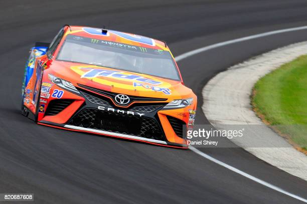 Matt Kenseth driver of the Tide Pods Toyota practices for the Monster Energy NASCAR Cup Series Brickyard 400 at Indianapolis Motorspeedway on July 22...