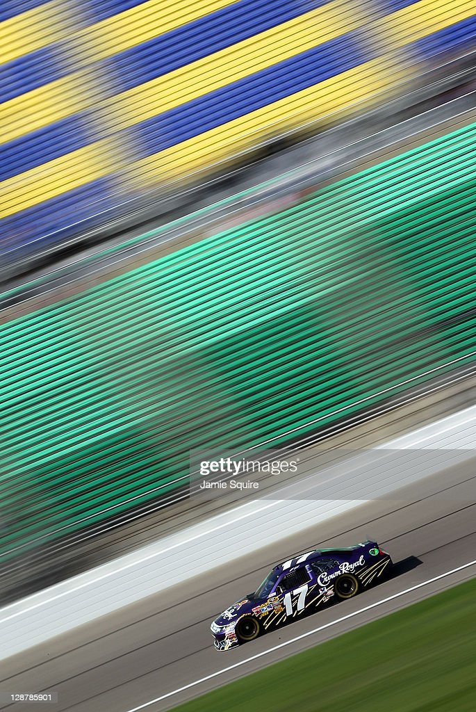Matt Kenseth drives the #17 Crown Royal Ford during practice for the NASCAR Sprint Cup Series Hollywood Casino 400 at Kansas Speedway on October 7, 2011 in Kansas City, Kansas.