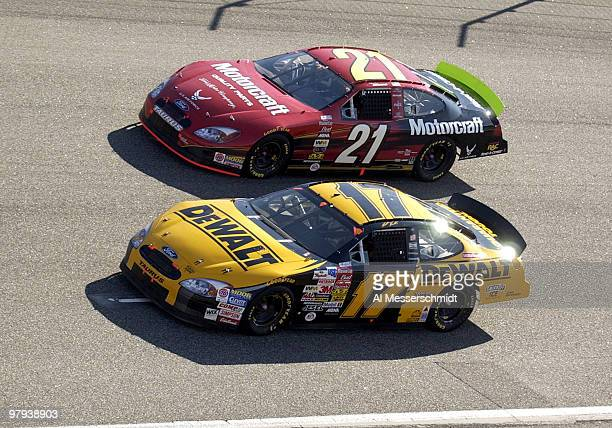 Matt Kenseth leads Ricky Rudd into turn four at the Pop Secret Microwave Popcorn 400 at North Carolina Speedway Sunday November 9 2003 Kenseth...