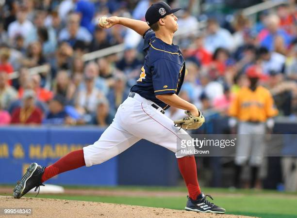Matt Kent of the Eastern Division All Stars in action during the 2018 Eastern League All Star Game at Arm Hammer Park on July 11 2018 in Trenton New...