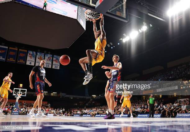 Matt Kenyon of the Brisbane Bullets dunks during the round five NBL match between the Adelaide 36ers and the Brisbane Bullets at Adelaide...