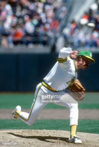Matt Keough of the Oakland Athletics pitches during an Major League Baseball game circa 1981 at the OaklandAlameda County Coliseum in Oakland...