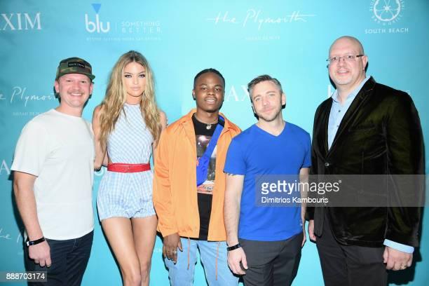 BEACH FL DECEMBER Matt Kessle Martha Hunt Daye Jack Nick Larkins and Robert Price attend the Maxim December Miami Issue Party Presented by blu on...