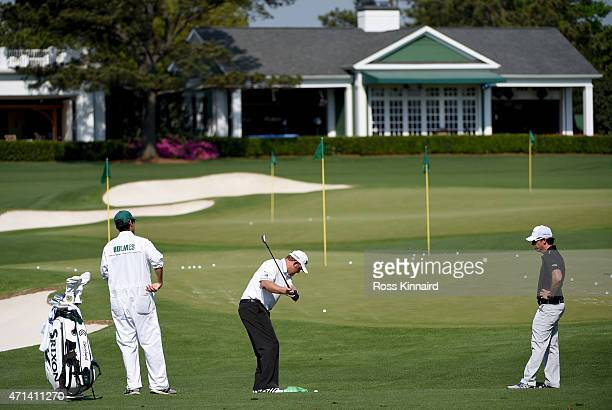 Matt Killen golf coach with JB Holmes of the United States on the practice ground during the first round of the 2015 Masters at Augusta National Golf...
