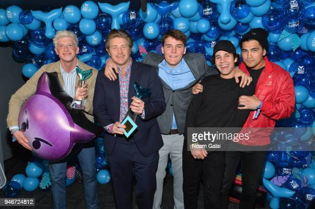 Matt King Jason Nash David Dobrik and Toddy Smith pose backstage during the 10th Annual Shorty Awards at PlayStation Theater on April 15 2018 in New...