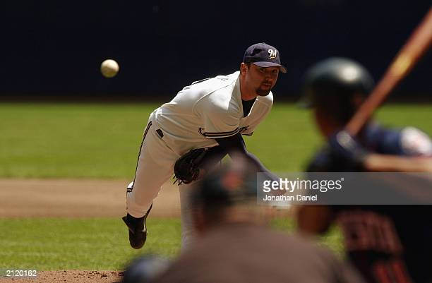 Matt Kinney of the Milwaukee Brewers delivers the pitch during the interleague game against the Minnesota Twins on June 22 2003 at Miller Park in...