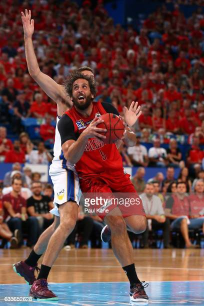 Matt Knight of the Wildcats lays up during the round 18 NBL match between the Perth Wildcats and the Brisbane Bullets at Perth Arena on February 3...