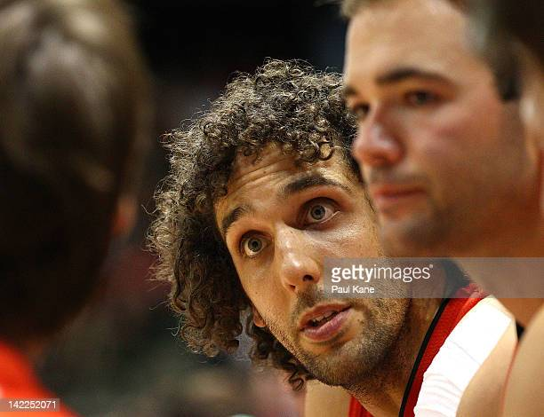 Matt Knight of the Wildcats looks on from the bench during game one of the NBL Finals series between the Perth Wildcats and the Gold Coast Blaze at...