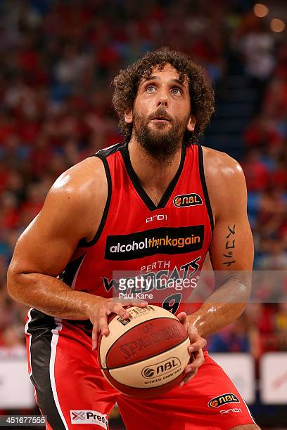 Matt Knight of the Wildcats prepares to shoot a free throw during the round seven NBL match between the Perth Wildcats and the Sydney Kings at Perth...