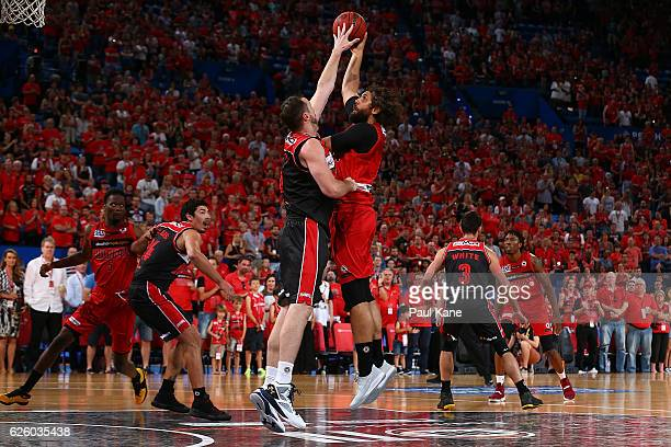 Matt Knight of the Wildcats puts up a shot during the round eight NBL match between the Perth Wildcats and the Illawarra Hawks at the Perth Arena on...