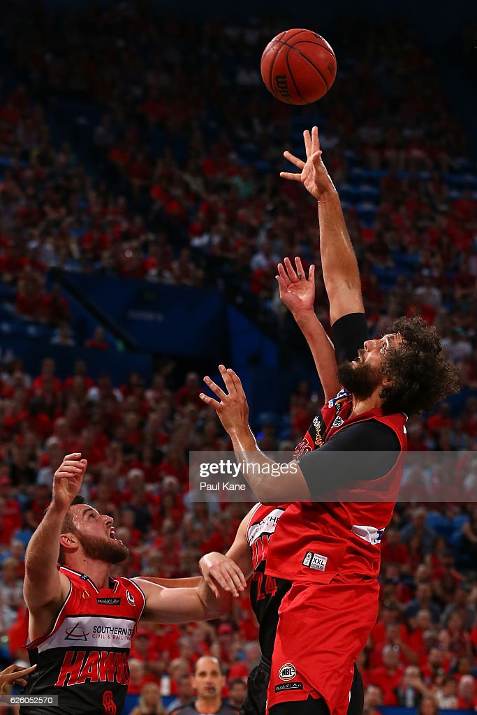 Matt Knight of the Wildcats puts up a shot during the round eight NBL match between the Perth Wildcats and the Illawarra Hawks at the Perth Arena on November 27, 2016 in Perth, Australia.